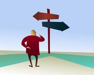 Choices: man on the horns of a dilemma