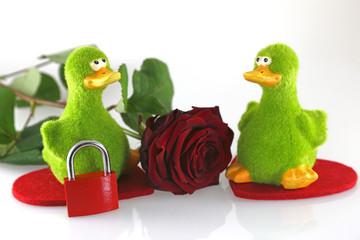 grüne Enten mit roter Rose