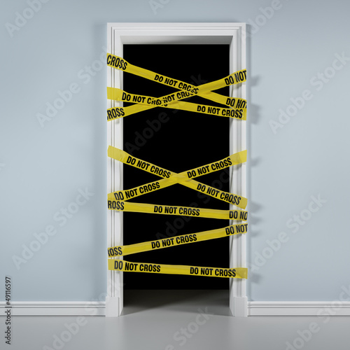 Door with caution tape