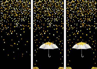 3 bandes confettis - fête - noir et doré - Carnaval
