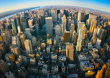 Fototapety Fisheye aerial panoramic view over New York