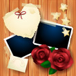 Valentine card with roses and photo frames