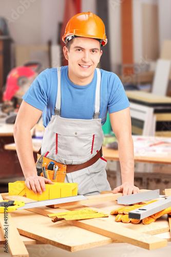 Carpenter working in a workshop