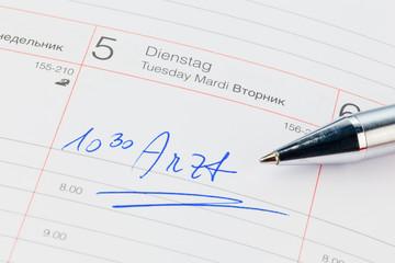 Eintrag im Kalender: Arzt