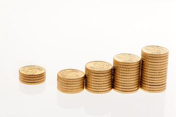 Stapel von Euro Geld Münzen