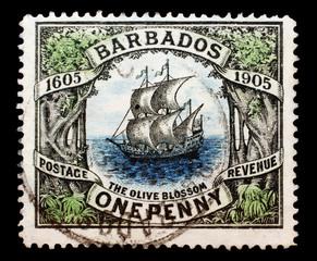UK, CIRCA 1910 - Post stamp printed in UK for the Barbados