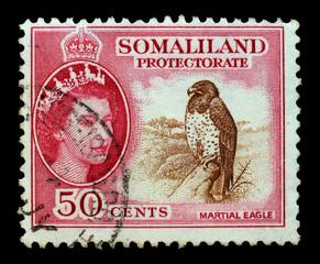 UK, CIRCA 1950 - Post stamp printed in Great Britain for Somalia
