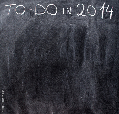 Empty to-do list on year 2014 on chalkboard