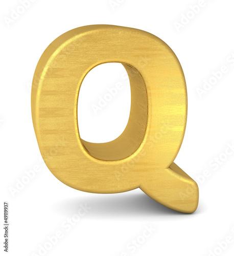 buchstabe letter Q gold vertikal