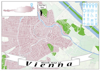 Blank map of Vienna