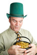 Greedy Leprechaun with His Gold