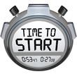 Leinwanddruck Bild - Time to Start Words Stopwatch Timer Clock