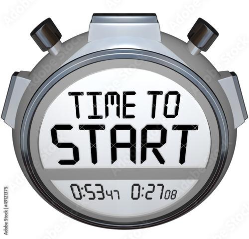 Leinwanddruck Bild Time to Start Words Stopwatch Timer Clock