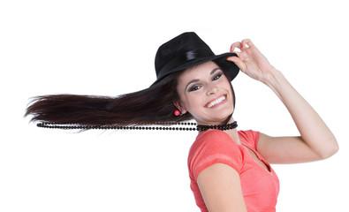 Pfiffiges Mädchen mit langen Haaren