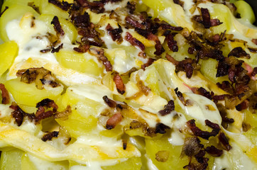 Dish of Tartiflette, closeup