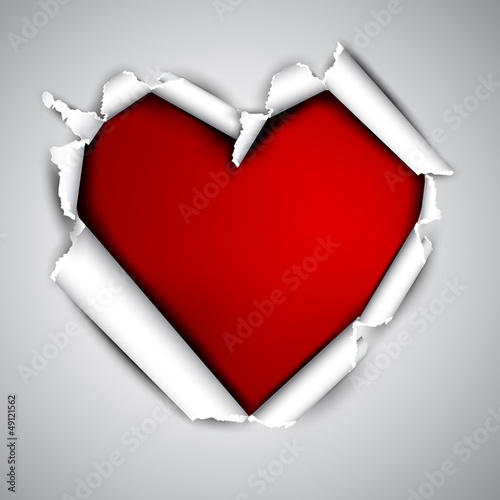 Torn paper with space for text. Red heart. Valentine's day vecto