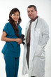 Attractive multi ethnicity medical professional man woman team