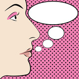 PopArt Illustration of a face with a speech bubble poster