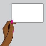 PopArt Illustration of hand with a piece of paper poster
