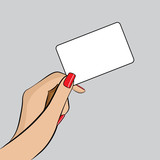 PopArt Illustration of a hand with a Business Card poster