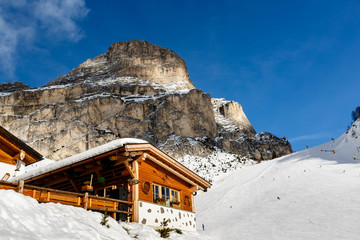 Restaurant in Mountains on the Skiing Resort of Colfosco, Alta B