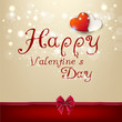 Valentine's day background with bow and hearts. Vector template