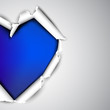 Torn paper with space for text. Blue heart. Valentine's day vect