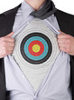 Business man with bullseye sign t-shirt