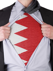 Business man with Bahrain flag t-shirt