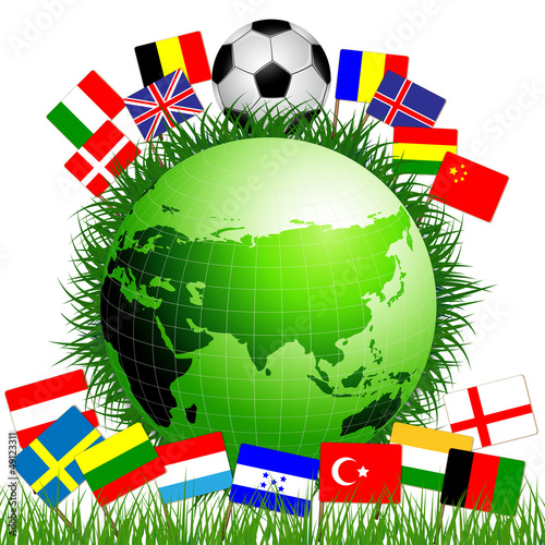 Soccer ball with world flags