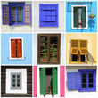 abstract wall with images of rustic windows