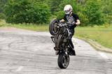Stunt rider making wheelie poster