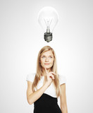 women with lightbulb