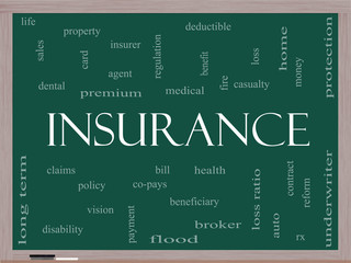 Insurance Word Cloud Concept on a Blackboard
