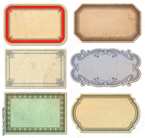 set of 6 vintage paper labels