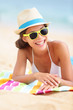Beach travel woman smiling
