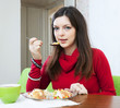 woman shared lunch in half