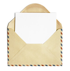 old open air post envelope  with blank paper sheet isolated on w