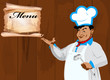 Funny Chef and menu restaurant.Best food for gourmet