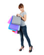 Isolated Yong Asian Woman With colorful Shopping Bags