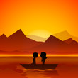 Happy Valentines Day love evening background with silhouette of