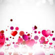 Happy Valentine's Day background with glossy pink hearts. EPS 10