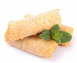 isolated spring roll and mint