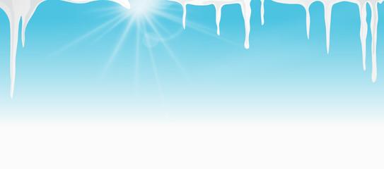 Sonne Eiszapfen blauer Himmel