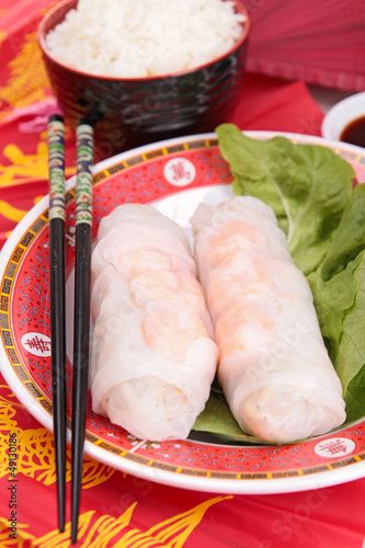 vietnamese spring roll and chopsticks