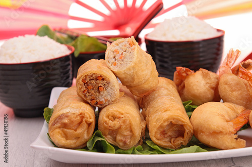 spring roll and rice