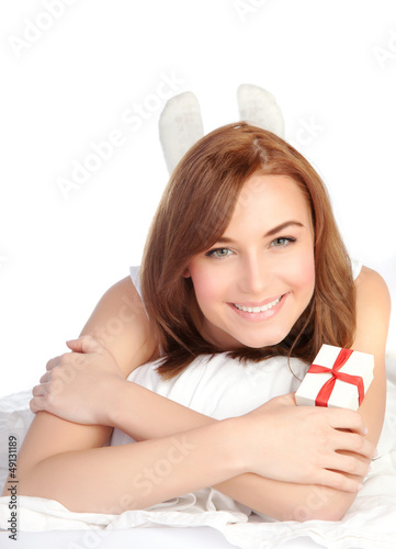 Woman relaxing in the bed