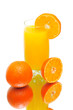 orange juice and tangerines on a white background