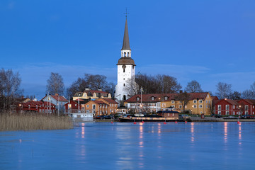 Mariefred Town in winter evening, Sweden
