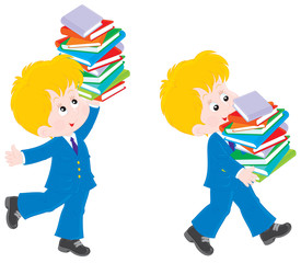 Schoolkid holding a stack of books